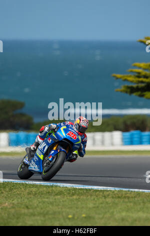 Phillip Island, Australia. 23rd October, 2016. MotoGP. Warm Up. Maverick Vinales, Team Suzuki Ecstar MotoGP. Credit: - Stock Photo