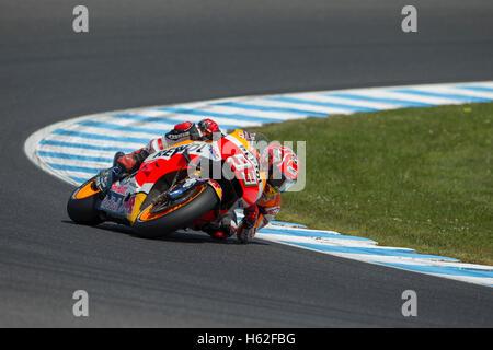Phillip Island, Australia. 23rd October, 2016. MotoGP. Warm Up. Marc Marquez, Repsol Honda MotoGP Team. Credit: - Stock Photo