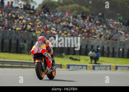 Phillip Island, Australia. 23rd October, 2016. MotoGP. Race. Marc Marquez on the main straight during the Michelin - Stock Photo