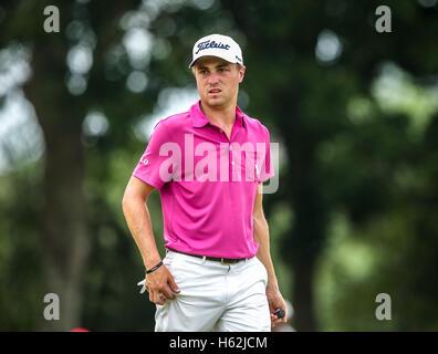 Kuala Lumpur, Malaysia, October 23, 2016. US golfer, Justin Thomas during the final day of CIMB Classic 2016 at - Stock Photo