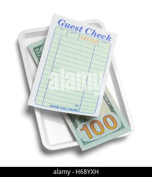 Receipt Tray with Money and Blank Guest Check Isolated on White Background. - Stock Photo