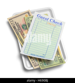 Receipt Tray with Money Isolated on White Background. - Stock Photo