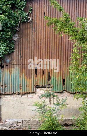 Old Rusty Galvanized Corrugated Iron Siding Vintage