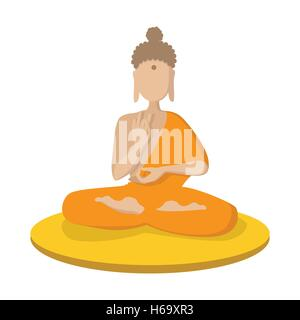 A monk meditating in the lotus position icon - Stock Photo