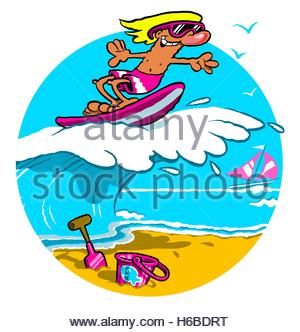 Surfer Riding Crest Of Large Wave Stock Photo Royalty