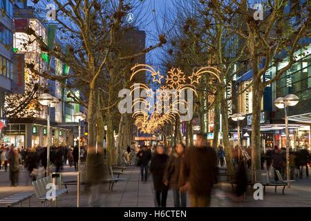 Koenigstrasse Street during christmas time, Christmas decorations, shopping street, shops, people, Stuttgart, Baden - Stock Photo