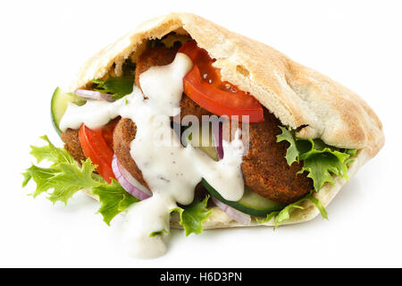 Pita bread filled with falafel, salad and white sauce isolated on white. - Stockfoto