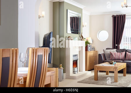 Fireplace In Modern House An Open Living Room Dining With Electric Fire A Modernised UK