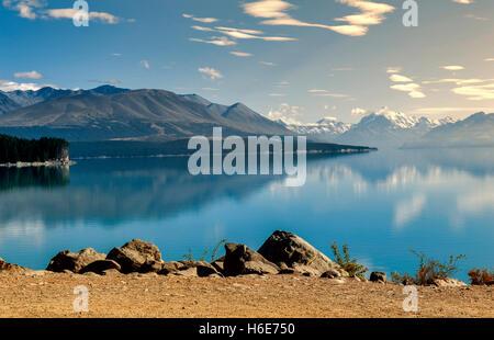 Lake Pukaki fed by the Tasman River, from Tasman and Hooker Glaciers, close to Aoraki / Mount Cook, New Zealand - Stock Photo