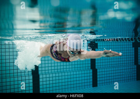 Underwater shot of female athlete swimming in pool. Young woman swimming the front crawl in a pool. - Stockfoto