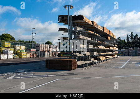 Timber stacked in a yard - Stock Photo
