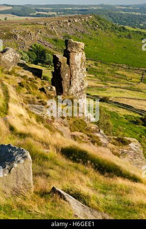 Iconic landmark stone on Curbar Edge, Peak District, Derbyshire, England UK - Stock Photo
