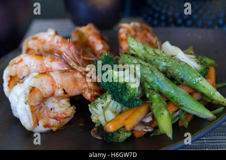 Japanese seafood and vegetable teppanyaki - Stock Photo