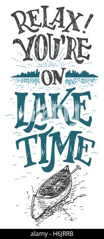 Relax. You are on lake time. Lake house decor. Lake sign, rustic wall decor. Lakeside living cabin, cottage hand - Stock Photo