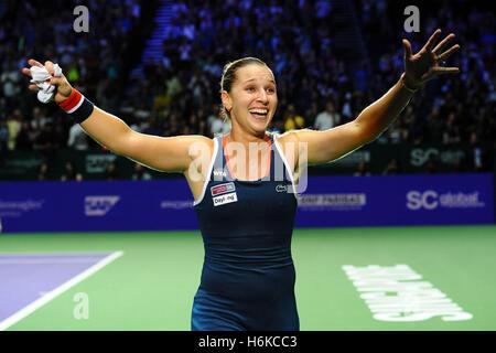 Singapore. 30th Oct, 2016. Dominika Cibulkova of Slovakia celebrates after winning the WTA Finals match against - Stock Photo