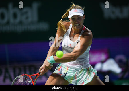 Singapore, 30th Oct, 2016. Angelique Kerber (DEU) loses to Dominika Cibulkova (SVK) in the final of the BNP PARIBAS - Stockfoto