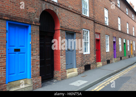 Three Colourful Doors Blue Red And Green In The New Town Stock Photo Royalty Free Image