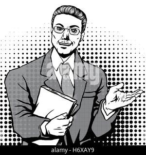 retro man smiling with files in his right hand, comic book style speech bubble, pop art, black and white - Stock Photo