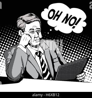 retro man with a helpless face and looks at his pad, comic book style speech bubble, pop art, black and white - Stock Photo