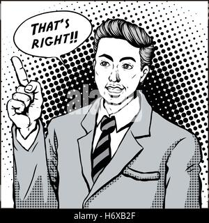 retro man smiling with pointing finger and says that is right, comic book style speech bubble, pop art, black and - Stock Photo