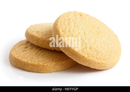 Three round shortbread biscuits isolated on white. - Stock Photo