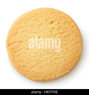 Single round shortbread biscuit isolated on white from above. - Stock Photo