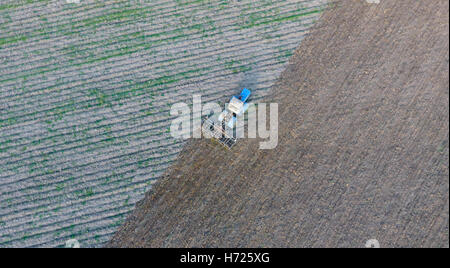 Top view of the tractor that plows the field. disking the soil. Soil cultivation after harvest. - Stock Photo