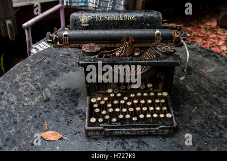 One of Henry Miller's typewriters at the Henry Miller Library in Big Sur, California. - Stock Photo
