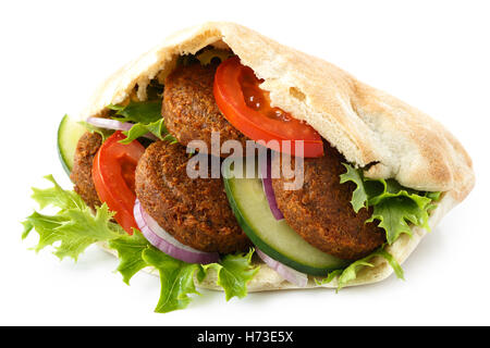 Pita bread filled with falafel and salad isolated on white. - Stock Photo