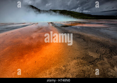 Grand Prismatic Spring - midway geyser basin - Stock Photo