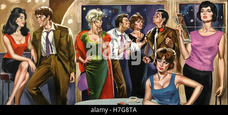 Illustration for the movie Bad Girls Don't Cry (La Notte Brava), Italy 1959 - Stock Photo