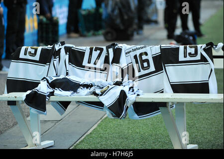London, UK. 05th Nov, 2016. Barbarian shirts on a team bench prior to their match against South Africa for the Killik - Stock Photo