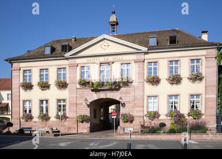 The Hotel de Ville at Riquewihr, in the Alsace wine region of France - Stock Photo
