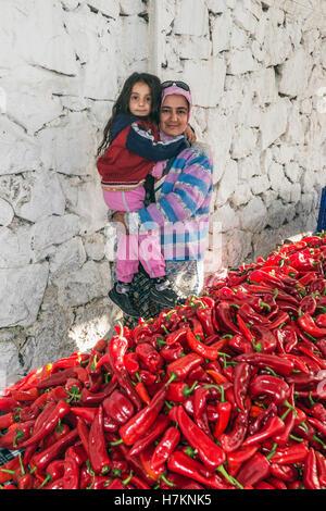 Turkey, Mediterranean region, The Aegean Turquoise coast, Fethiye, fresh produce market, red chili peppers - Stock Photo