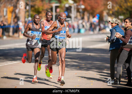 New York, USA. 06th Nov, 2016. Somali born American Abdi Abdirahman leads a pack of men as they pass through Harlem - Stockfoto