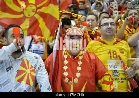 Pilsen, Czech Republic. 05th Nov, 2016. Fans of Macedonia during the men's handball European Cup qualifier: Czech - Stock Photo