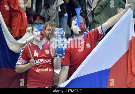 Pilsen, Czech Republic. 05th Nov, 2016. Czech fans during the men's handball European Cup qualifier: Czech Republic - Stock Photo