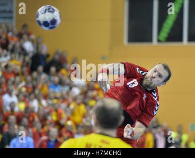Pilsen, Czech Republic. 05th Nov, 2016. Pavel Horak of Czech in action during the men's handball European Cup qualifier: - Stock Photo