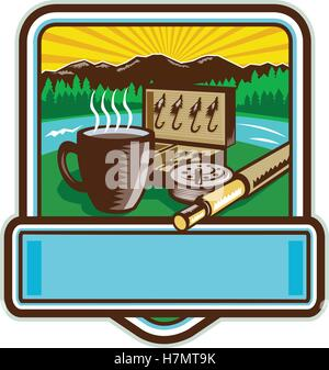 Illustration of a mug, fly tackle bait box, fly rod and reel set inside crest shield with mountain river trees and - Stock Photo
