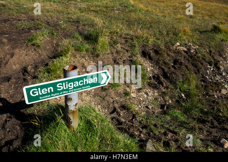Trail sign to Glen Sligachan, Isle of Skye, Scotland - Stock Photo