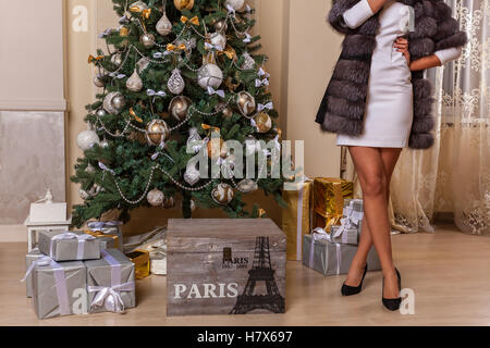 Girl in the New Year.The figure of girl in the dress and fur coat standing at the decorated Christmas tree. - Stock Photo