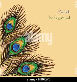 Vector illustration of a hand drawing a pastel crayon background with peacock feathers - Stock Photo