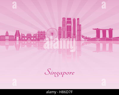 Singapore V2 skyline in purple radiant orchid in editable vector file - Stock Photo