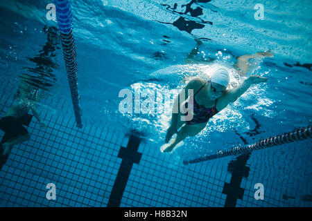 Underwater shot of young female swimmer swimming in pool. Young female swimmer training in the pool. - Stockfoto