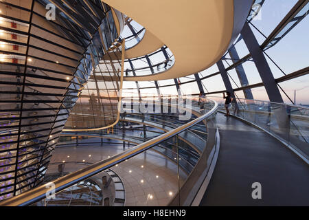 The Dome by Norman Foster, Reichstag Parliament Building at sunset, Mitte, Berlin, Germany, Europe - Stock Photo