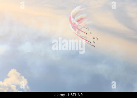 Red Arrows, Royal Air Force aerobatic display team, colourful sky, Derbyshire, England, United Kingdom, Europe - Stock Photo