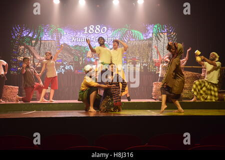 Crew of actors performing a show on stage in Kuala Lumpur, Malaysia - Stock Photo