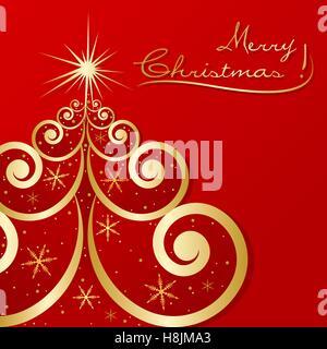 Golden Christmas Tree - Stockfoto