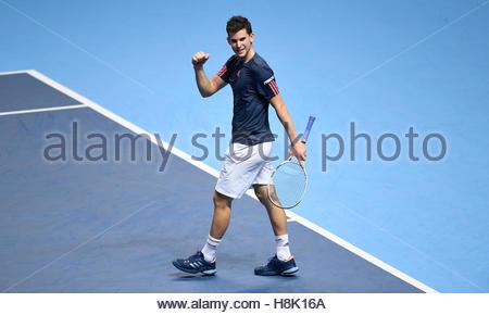 Britain Tennis - Barclays ATP World Tour Finals - O2 Arena, London - 13/11/16 Austria's Dominic Thiem celebrates - Stock Photo