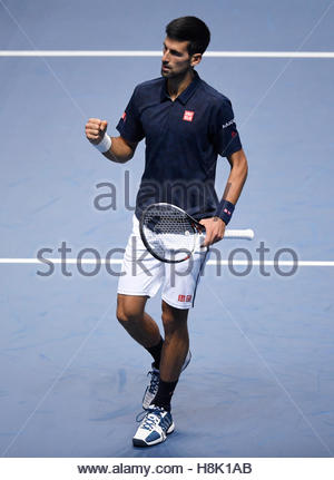 Britain Tennis - Barclays ATP World Tour Finals - O2 Arena, London - 13/11/16 Serbia's Novak Djokovic celebrates - Stock Photo